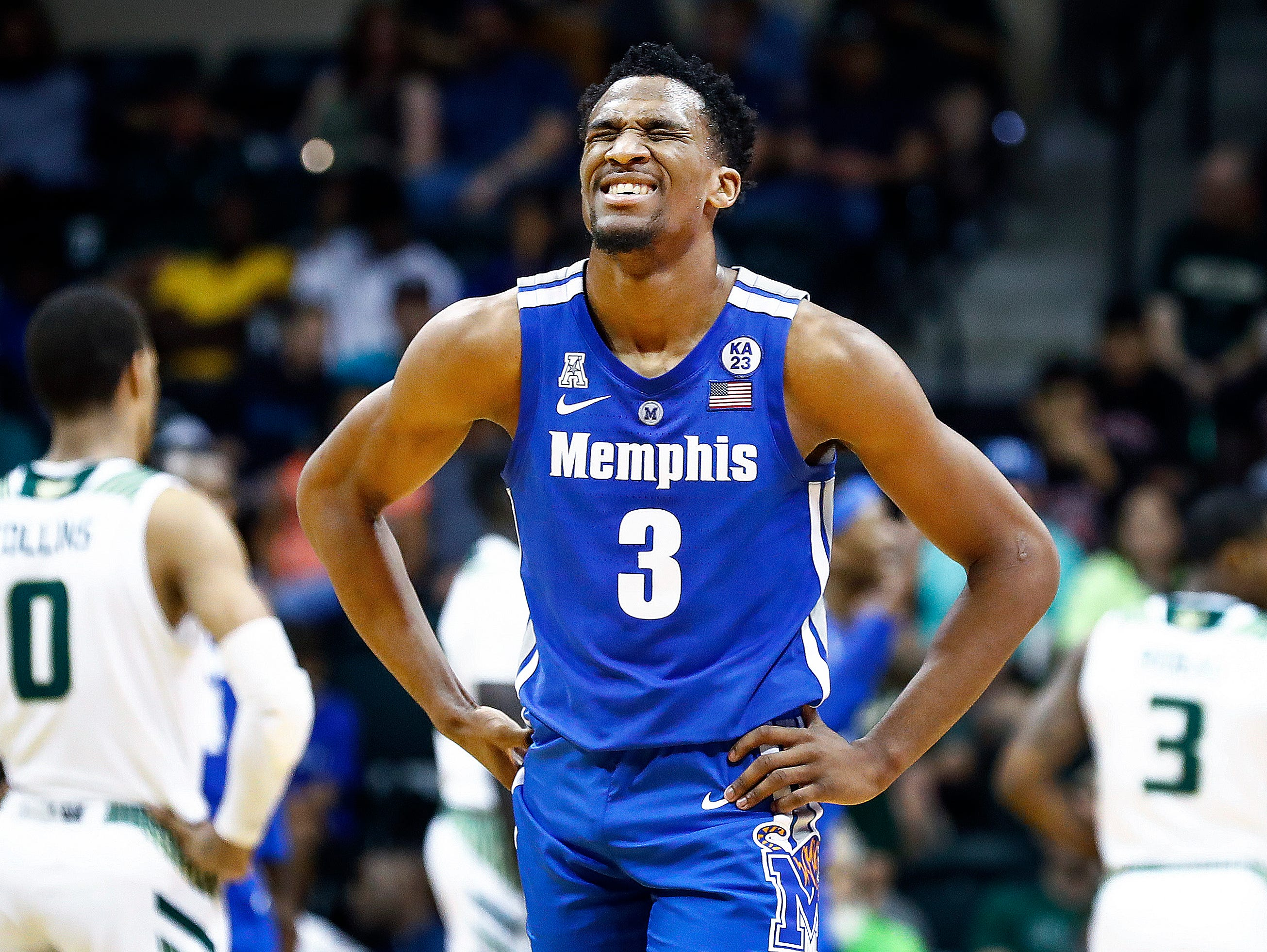 Memphis guard Jeremiah Martin grimaces during a 84-78 loss to USF in Tampa, Saturday, February 2, 2019.