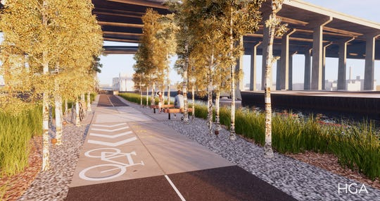 The Menomonee Valley RiverWalk will include groves of trees, natural grass plantings and room for bikes.