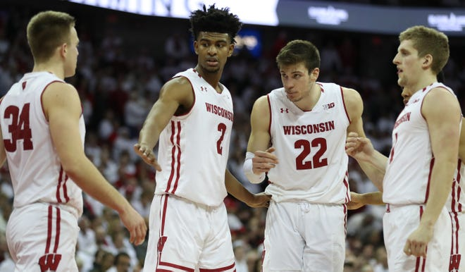 Brad Davison (34) and Ethan Happ (22) have been regular contributors during UW's current five-game winning streak, but players such as Aleem Ford (2) and Brevin Pritzl have also stepped up in certain games during the run for the Badgers.