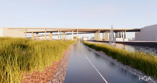 The grasses along the Menomonee Valley RiverWalk will help soak up stormwater as nearby sites are developed.