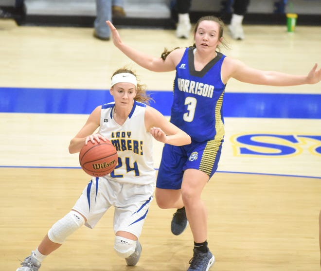 Mountain Home's Emma Martin drives the baseline during a game earlier this season.