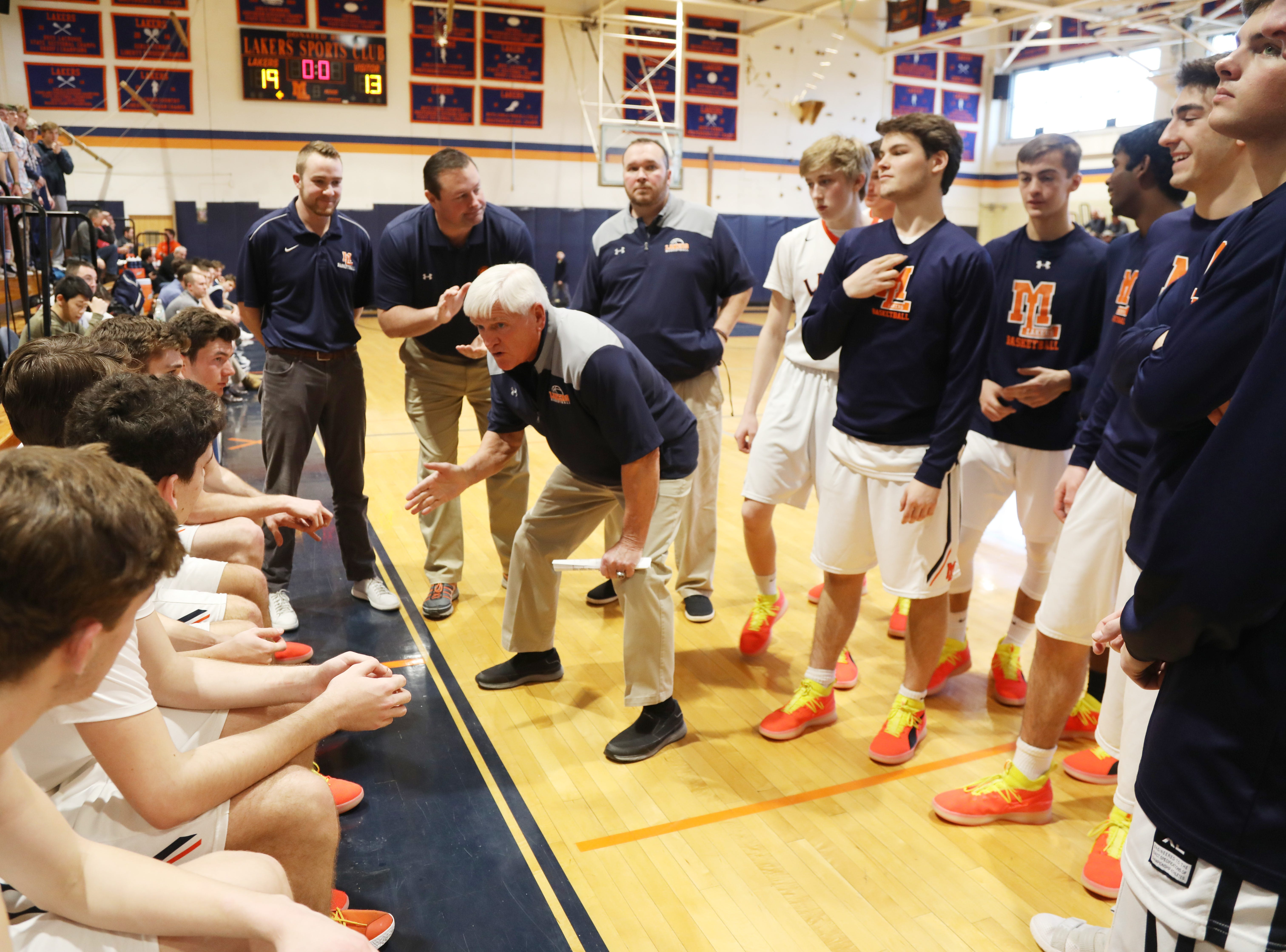 Mt. Lakes head coach John ByDook during a second half time out as he goes for his 500th career win.