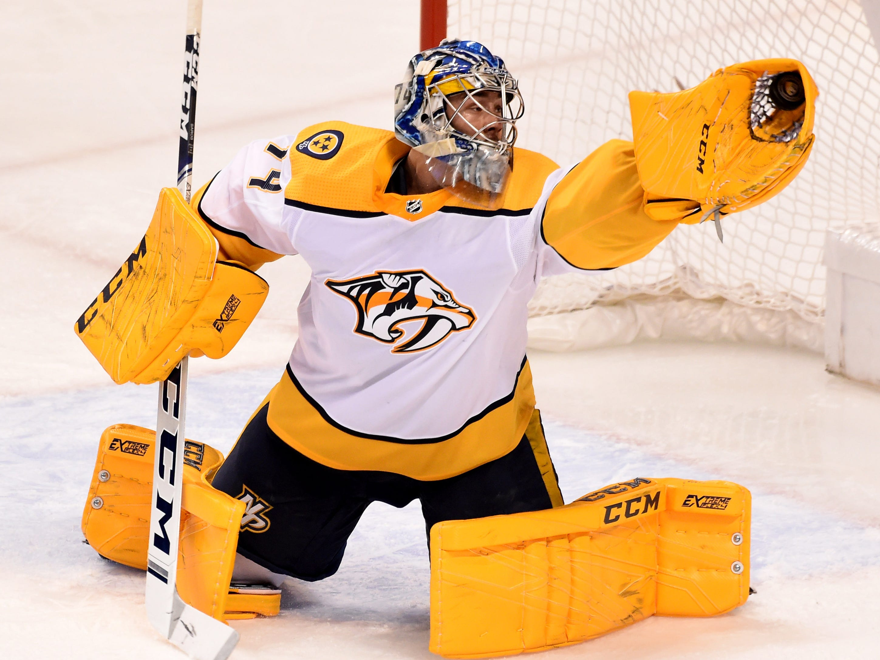 Feb 1, 2019: Predators 4, Panthers 1 -- Nashville Predators goaltender Juuse Saros (74) makes a save against the Florida Panthers during the second period at BB&T Center.