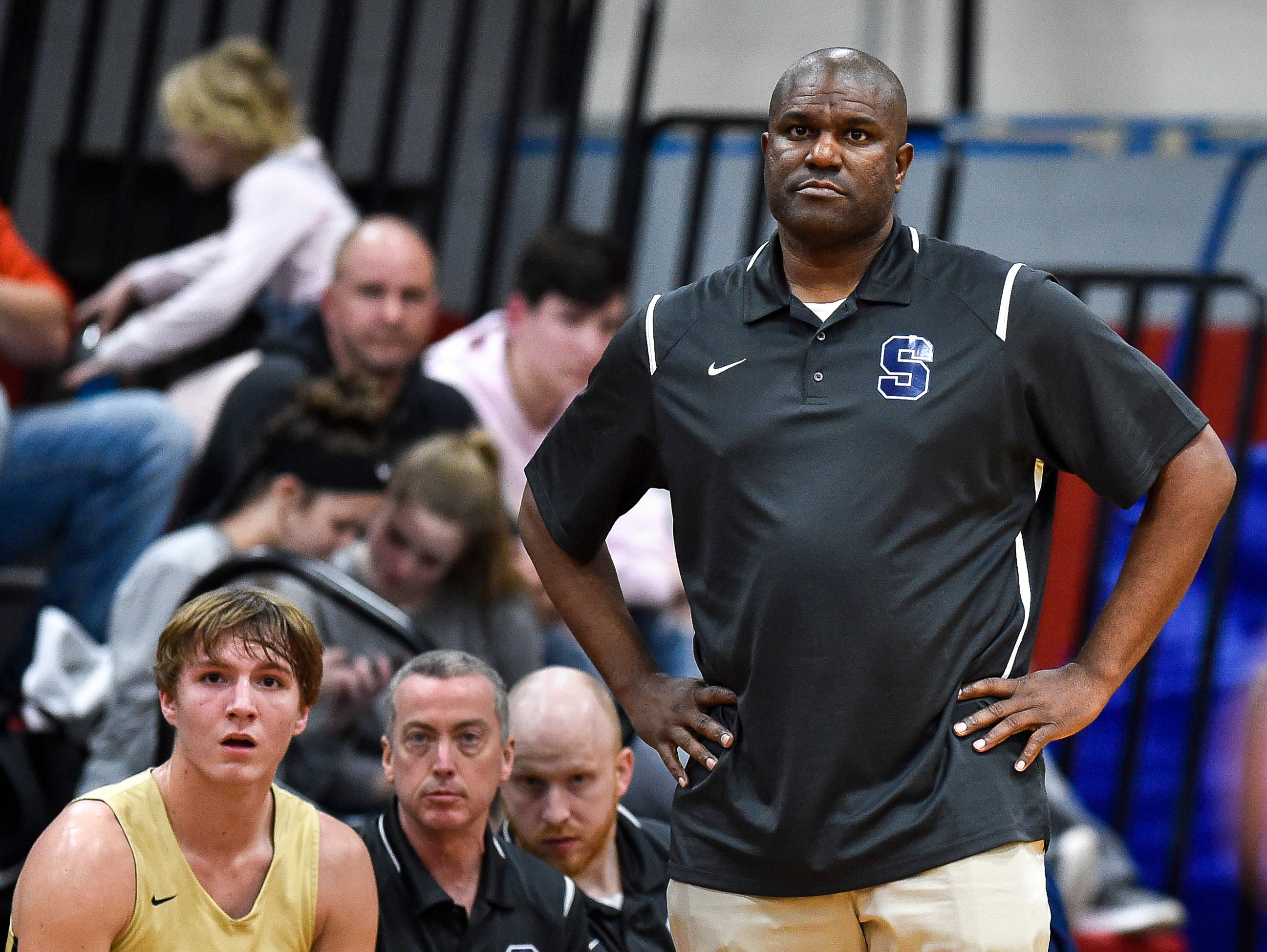 Sycamore's head coach Toby Miles watches his team face East Nashville during the first half at East Nashville Magnet High School in Nashville, Tenn., Friday, Feb. 1, 2019.