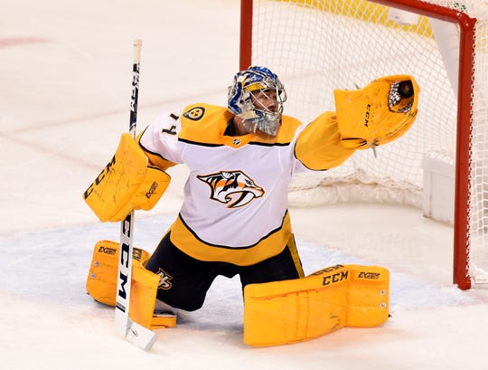 Predators goaltender Juuse Saros makes a save against the Panthers earlier this month.