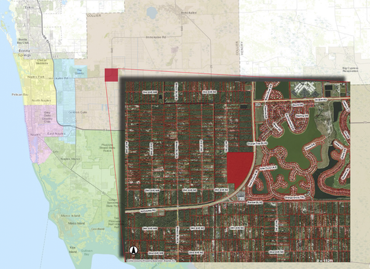 A map showing the location of the 47 county-owned acres off Immokalee Road, near Randall Boulevard, that have drawn the interest of investors.