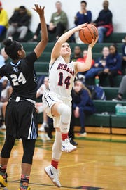 Bergen County girls basketball tournament game between Saddle River Day and Immaculate Conception at Pascack Valley High School in Hillsdale on Saturday, February 2, 2019. SR #14 Jordan Janowski drives to the basket in the fourth quarter.