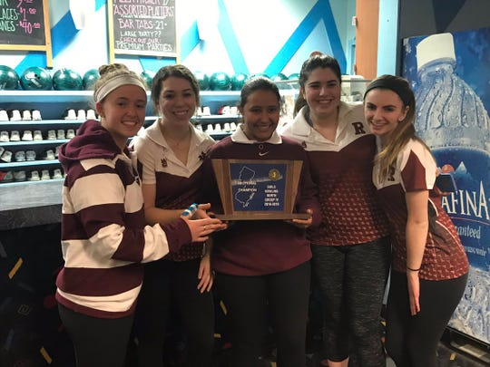"The Ridgewood girls bowling team repeated as North Group 4 sectional champion on Saturday, Feb. 2, 2019 at Bowler City in Hackensack. From left: Carley Santangelo, Christina St. John, Francesca ""Chachi"" Chinea, Caroline Gervolino and Madison Murphy."