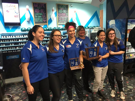 Teaneck captured its first sectional title by scoring 3,028 to win Group 2 at the North girls bowling tournament on Saturday, Feb. 2, 2019. From left: Shayna Jimenez, Mia Aish, high game winner Margaux Lesser, coach Stephanie Baer, Tyana Wynter and Sophie Stahl.