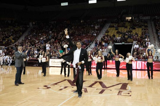 New Mexico State honored former Aggies coach Reggie Theus on Saturday during the Aggies victory over Chicago State.
