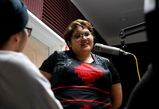Andi Murphy held a cooking demonstration that centered on Indigenous foods on Friday at Navajo Technical University in Crownpoint. Murphy hosts Toasted Sister, a podcast that focuses on native foods.