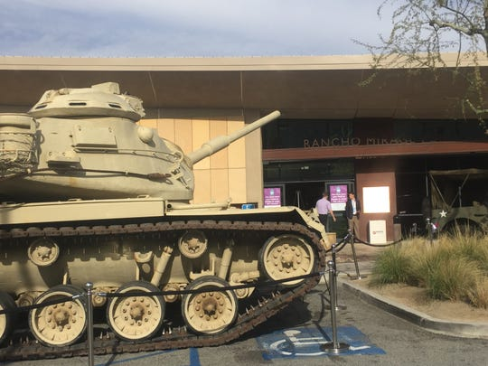 Festival donor Harold Matzner brought a World War II tank from the Gen. George S. Patton Museum in Chiriaco Summitt to display outside of the Rancho Mirage Public Library to represent the Rancho Mirage Writers Festival's theme of remembering World War II.