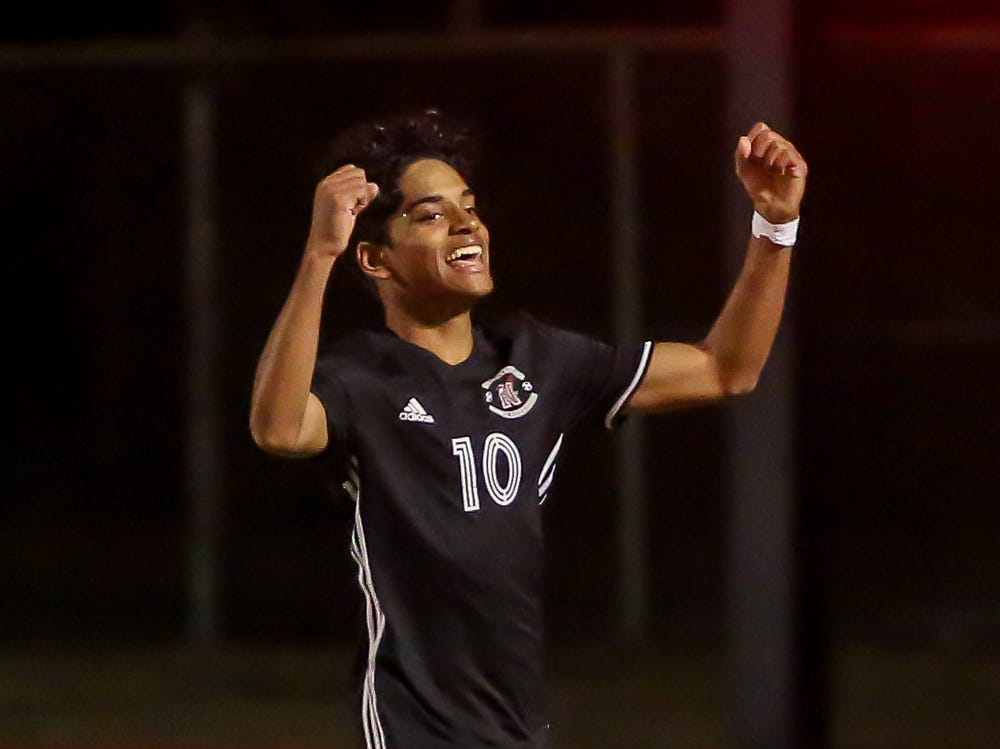 Niceville's Liam Etan (10) celebrates after scoring one of his two goals against Navarre in the District 1-4A championship game at Washington High School on Friday, February 1, 2019. For the second straight year, Niceville shut-out Navarre to win the championship. Last year, the score was 6-0 and this year it was 7-0.