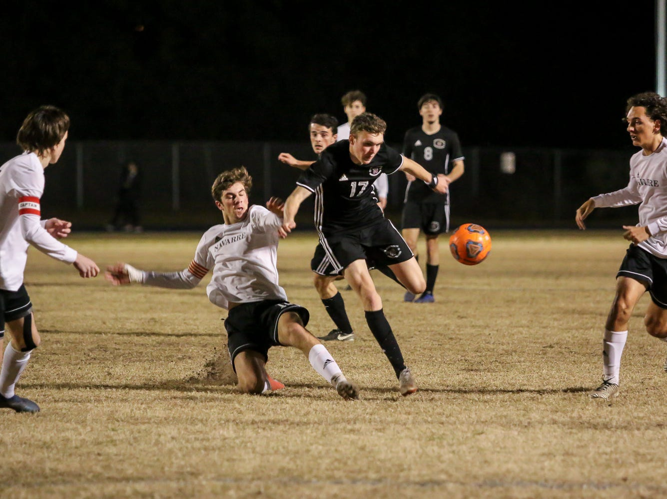 Niceville's Logan Harrelson (17) chases after the ball against Navarre in the District 1-4A championship game at Washington High School on Friday, February 1, 2019. For the second straight year, Niceville shut-out Navarre to win the championship. Last year, the score was 6-0 and this year it was 7-0.