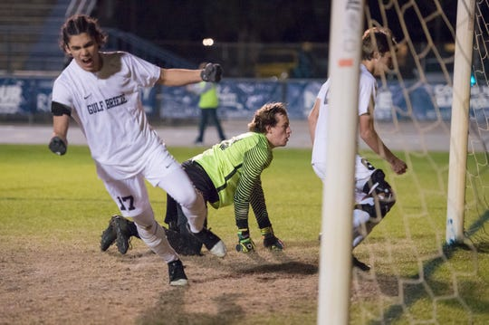Jayce Dotson (17) celebrates as Jaguars goalie Mason Tampary (00) eyes the ball in the net after a Dolphins goal during the District 1-3A boys soccer tournament final between West Florida and Gulf Breeze at Gulf Breeze High School on Friday, February 1, 2019.