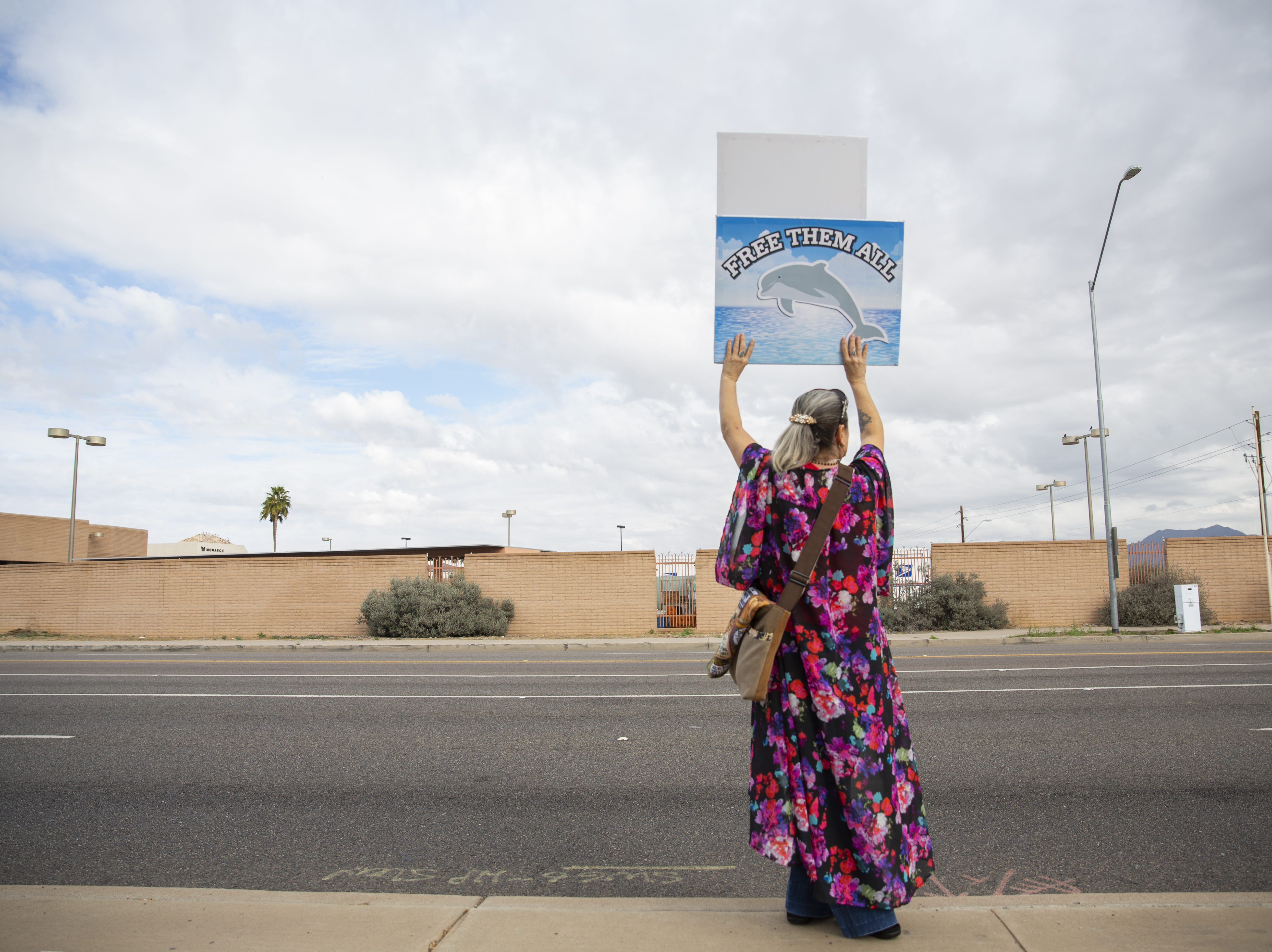 "Debra Toro holds a sign that reads ""free them all"" at a protest against Dolphinaris at the intersection of E. Via de Ventura and N. Pima Road in Scottsdale on Feb. 2, 2019. Toro drove to Scottsdale from Las Vegas with friends to attend the protest."