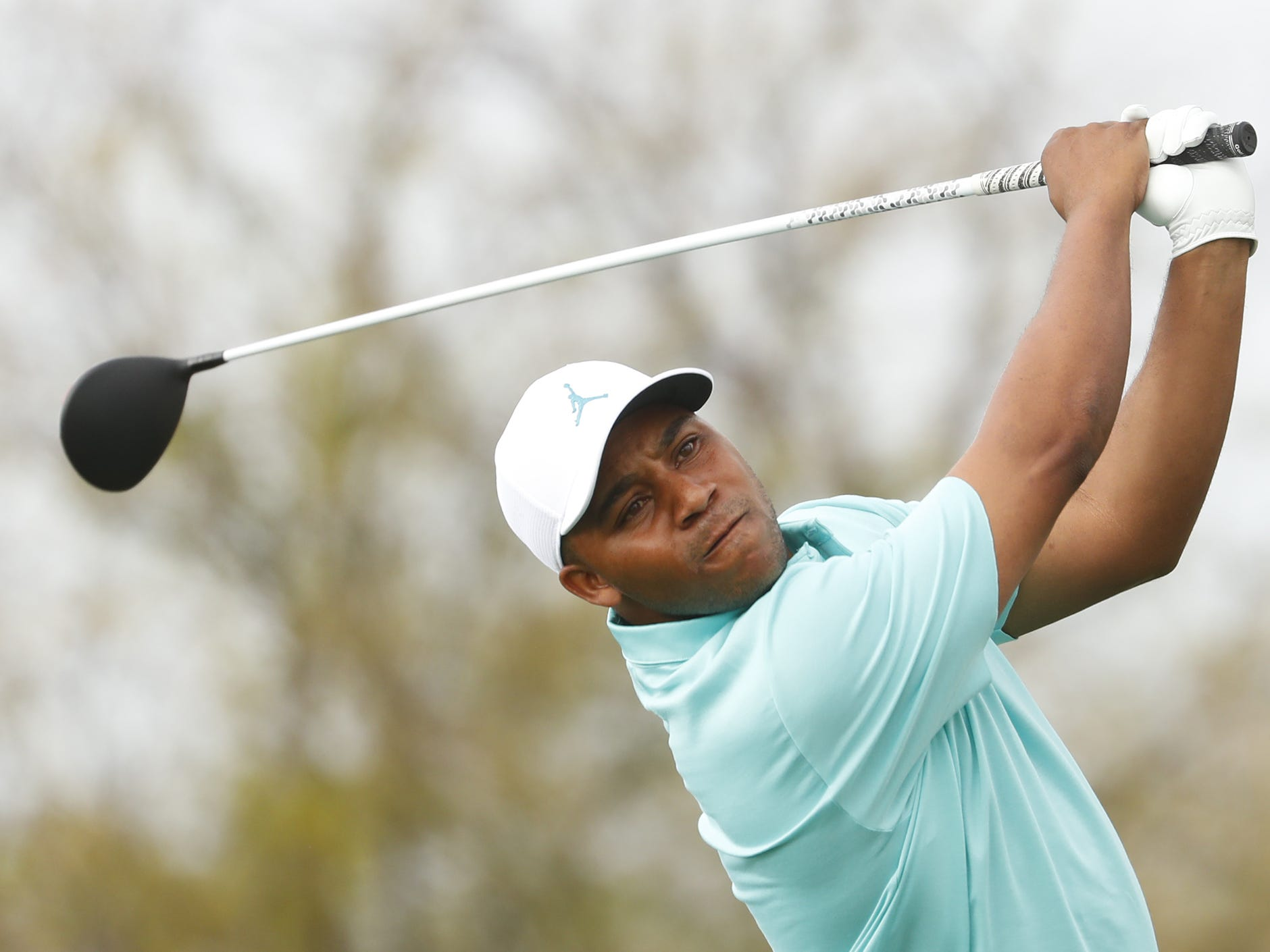 Harold Varner III tees off on the 8th hole during the third round of the Waste Management Phoenix Open at TPC Scottsdale in Scottsdale, Ariz. on February 2, 2019.