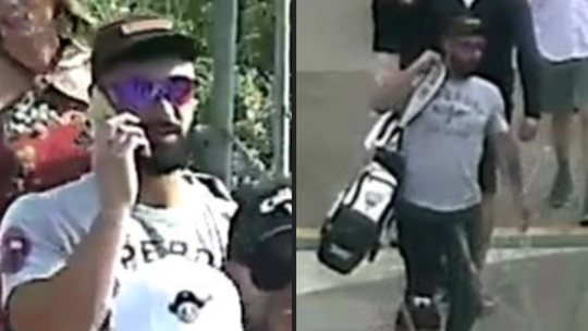 Pictures of man suspected of stealing Archie Bradley's golf clubs at the Waste Management Open.