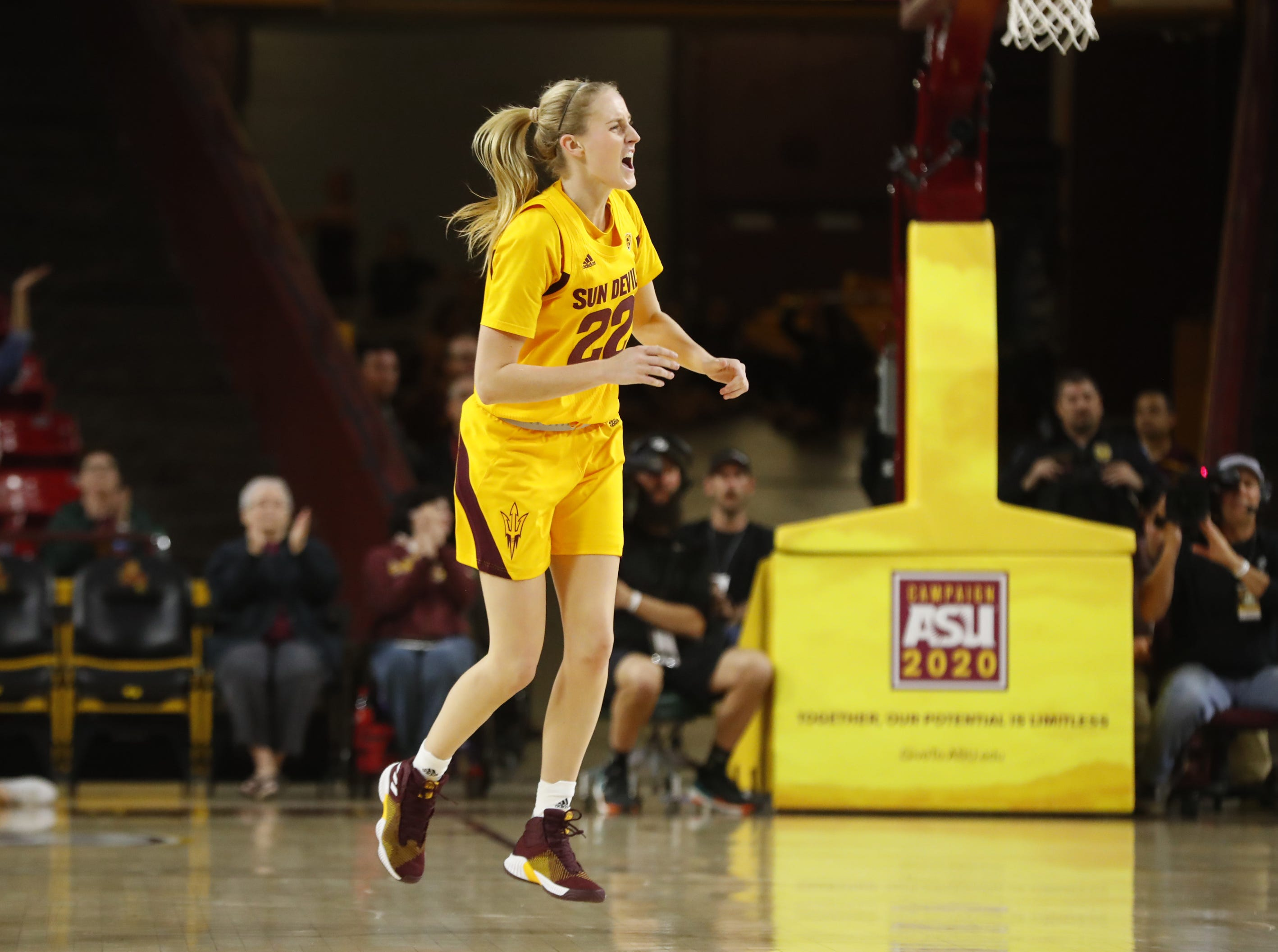 ASU's Courtney Ekmark (22) celebrates after scoring against Arizona during the first half at Wells Fargo Arena in Tempe, Ariz. on February 1, 2019.