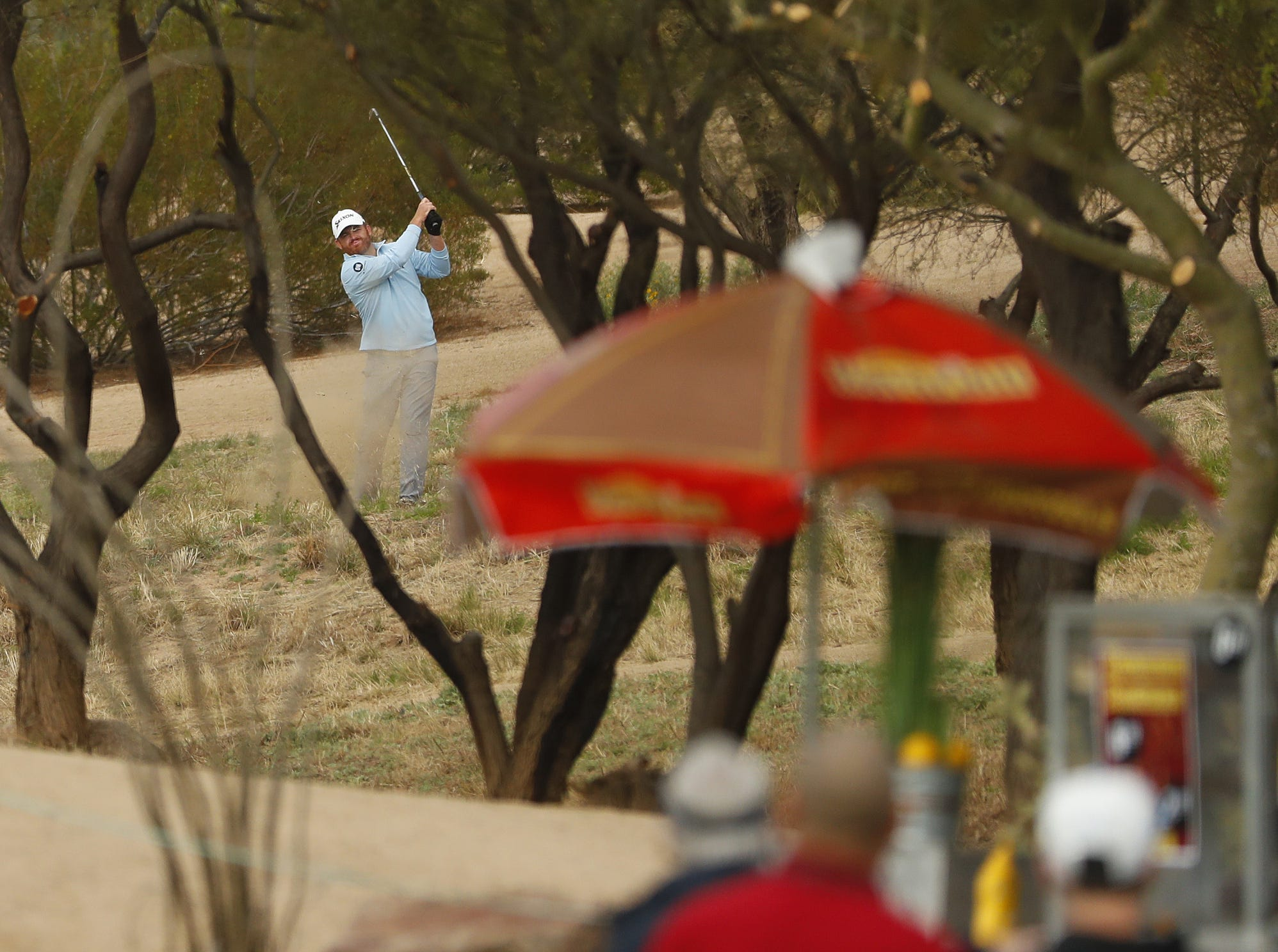 J.B. Holmes plays a shot from out of bounds on the 9th hole during the third round of the Waste Management Phoenix Open at TPC Scottsdale in Scottsdale, Ariz. on February 2, 2019.