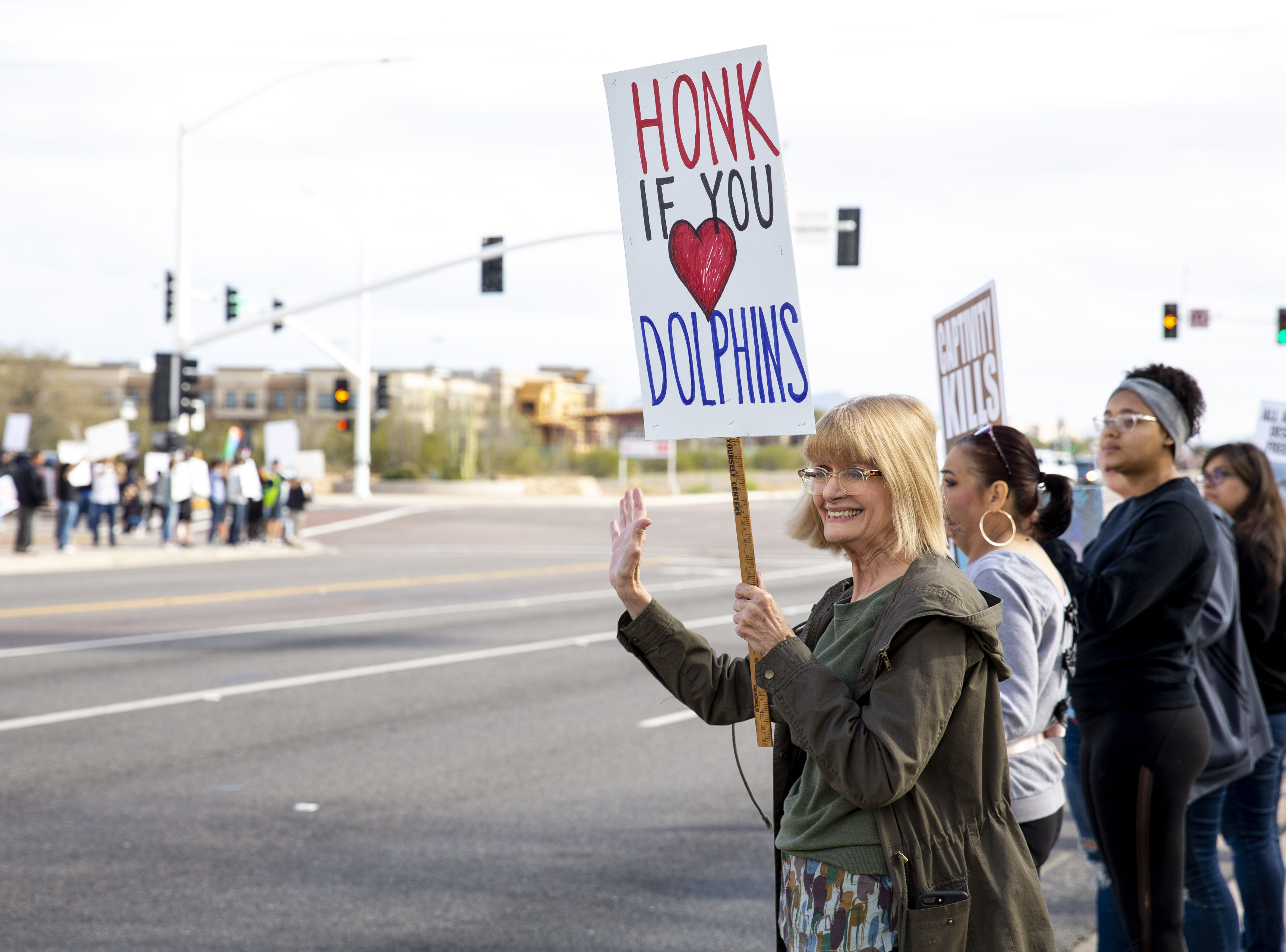 Jeanne Carney waves at passing cars during a protest against Dolphinaris at the intersection of E. Via de Ventura and N. Pima Road in Scottsdale on Feb. 2, 2019. The protest was prompted by four dolphin deaths in less than two years.