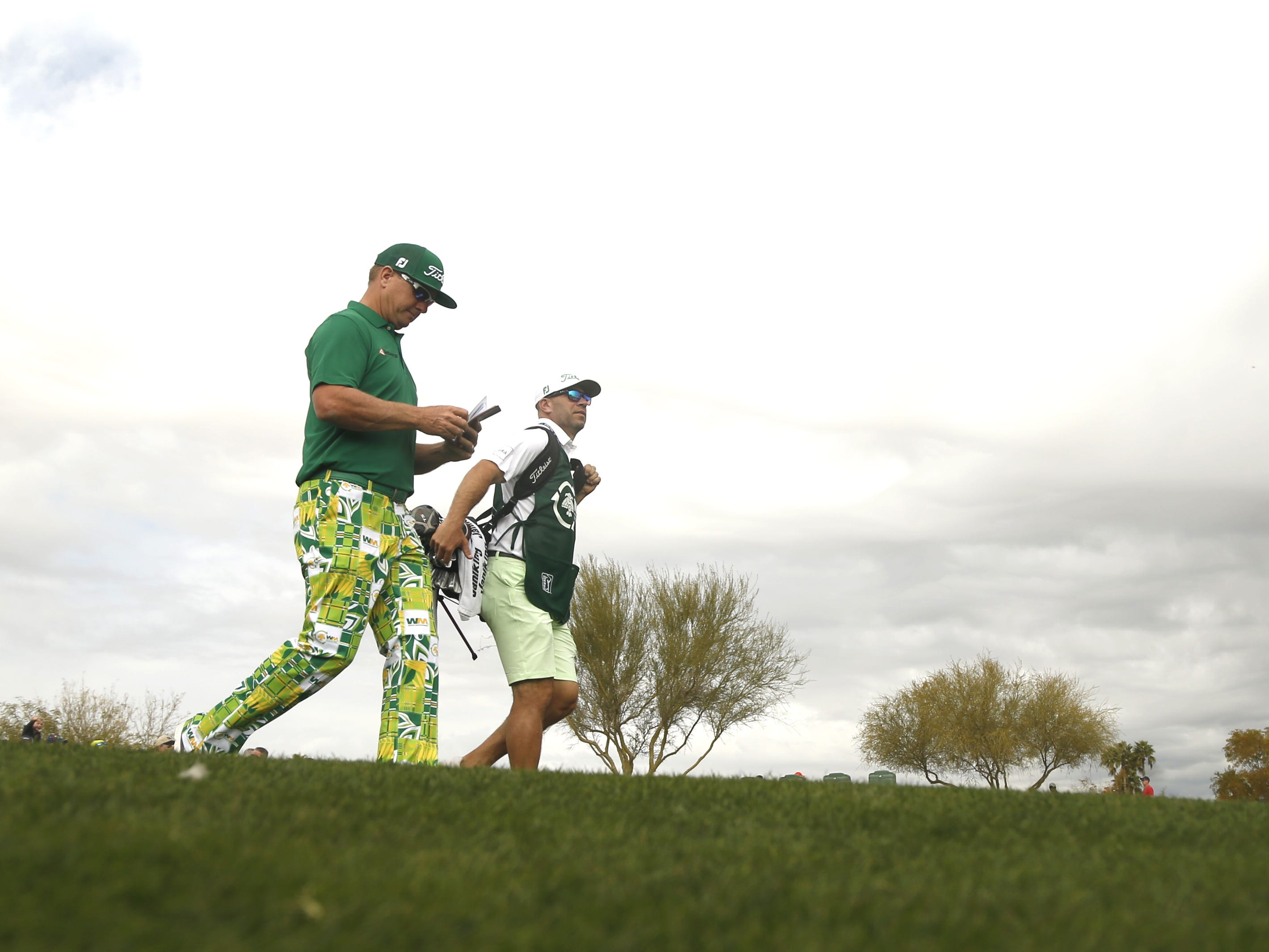 Charley Hoffman walks from the 8th tee box during the third round of the Waste Management Phoenix Open at TPC Scottsdale in Scottsdale, Ariz. on February 2, 2019.