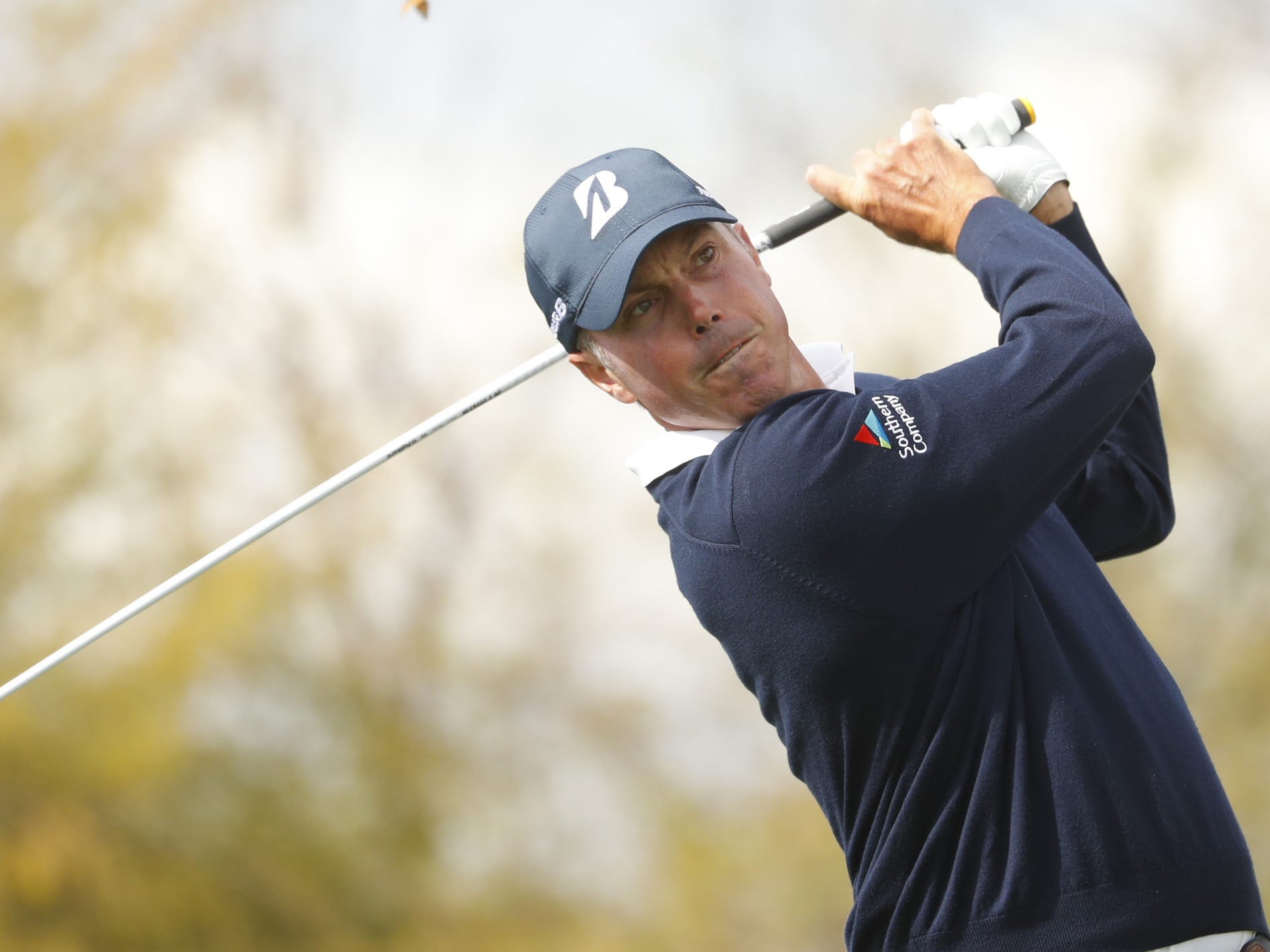 Matt Kuchar tees off on the 8th hole during the third round of the Waste Management Phoenix Open at TPC Scottsdale in Scottsdale, Ariz. on February 2, 2019.