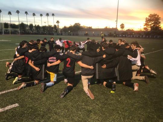 Brophy High School boys soccer team before a game on senior night Friday, Feb. 1, 2019.