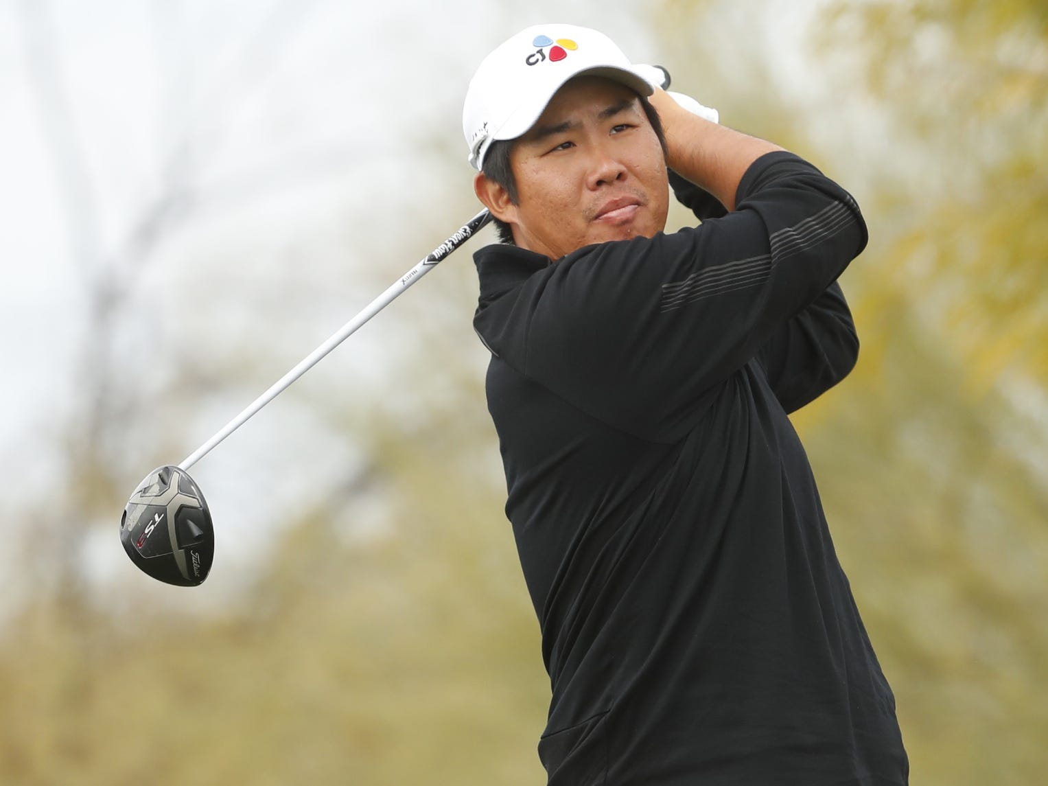 Byeong Hun An tees off on the 8th hole during the third round of the Waste Management Phoenix Open at TPC Scottsdale in Scottsdale, Ariz. on February 2, 2019.