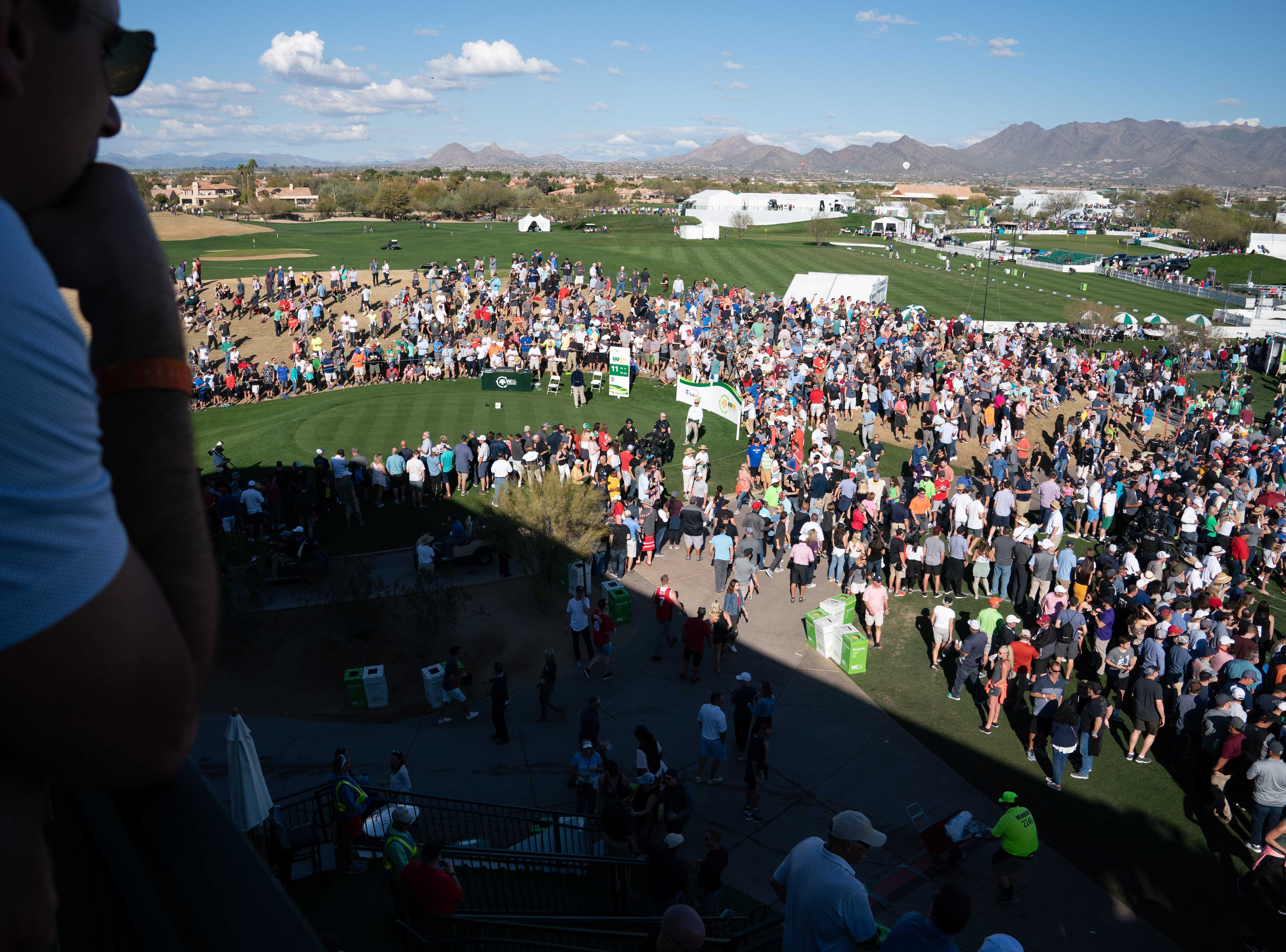 Fans watch the action at the 10th hole of the second round of the 2019 Waste Management Phoenix Open.
