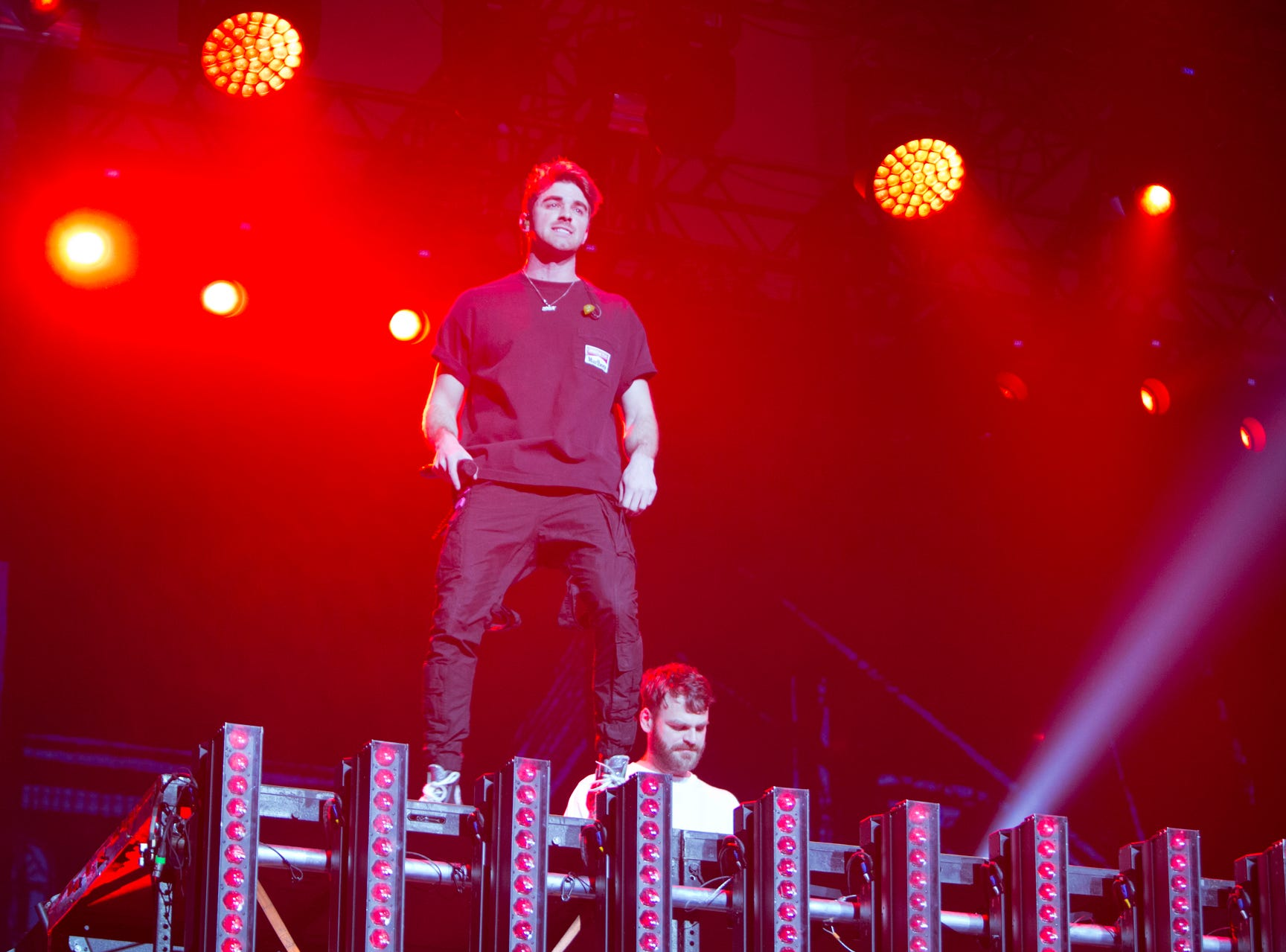 The Chainsmokers performs at the TPC Scottsdale Birds Nest during the Waste Management Phoenix Open on Friday, Feb. 1, 2019.  Lisa Webb/Special for AZCentral.com