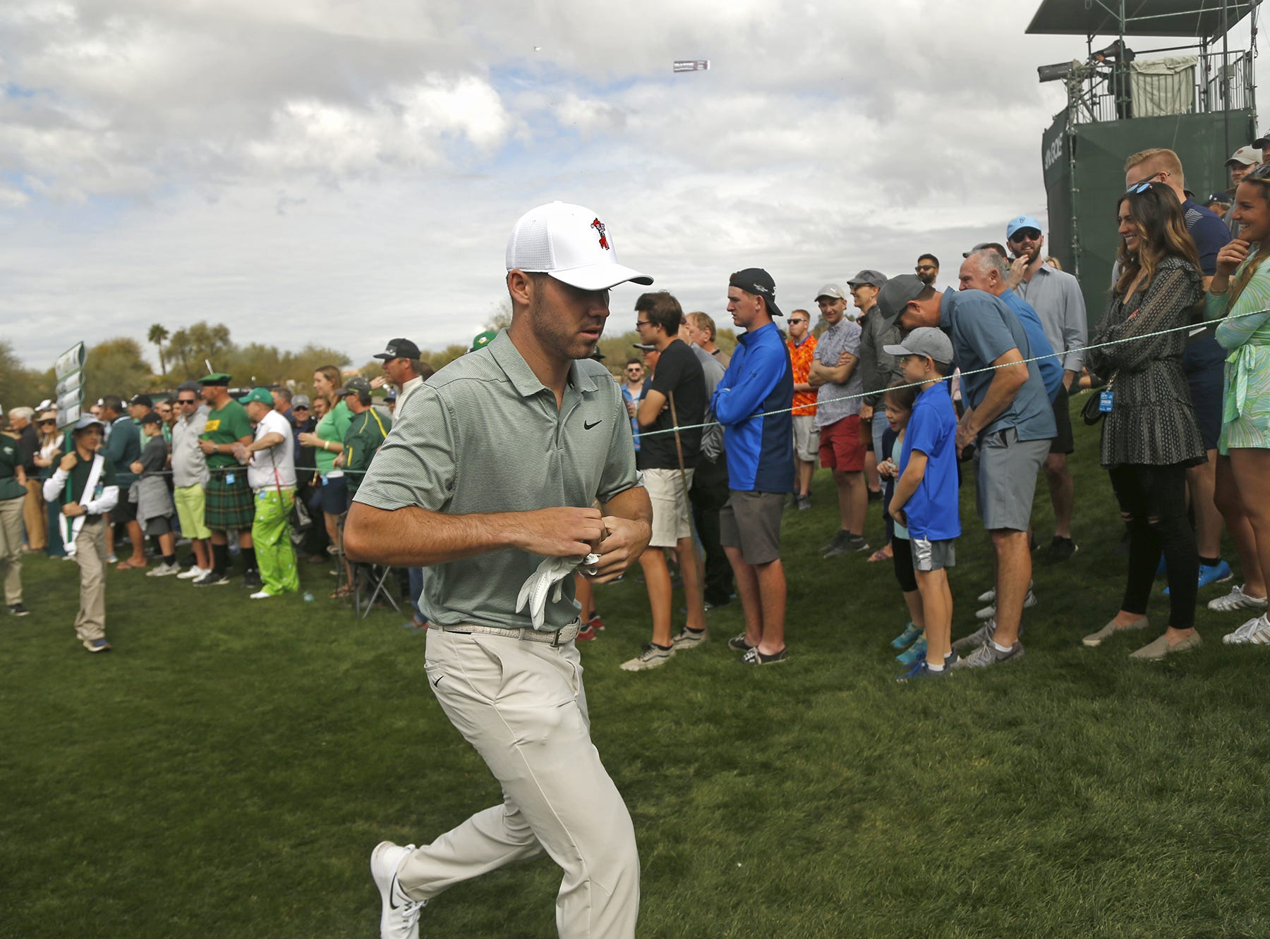 Matthew Wolff comes off the 9th green during the third round of the Waste Management Phoenix Open at TPC Scottsdale in Scottsdale, Ariz. on February 2, 2019.