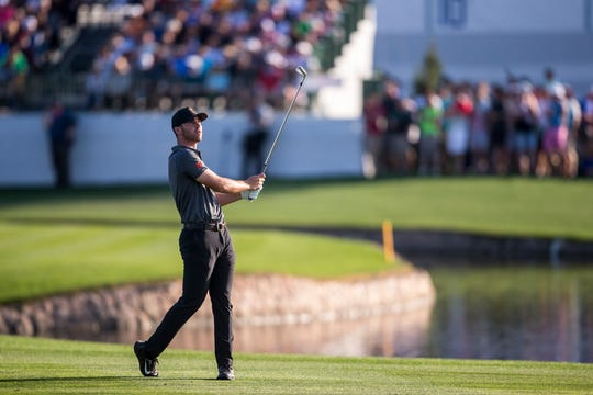 Matthew Wolff hits from the fairway on the 11th hole during Round 2 of the Waste Management Phoenix Open on Friday, Feb. 1, 2019, at TPC Scottsdale in Scottsdale, Ariz.