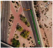 This graphic from a National Transportation Safety Board report on the March 18, 2018 Uber accident in Tempe shows the brick walkway in the median of Mill Avenue, which has been removed by the city.
