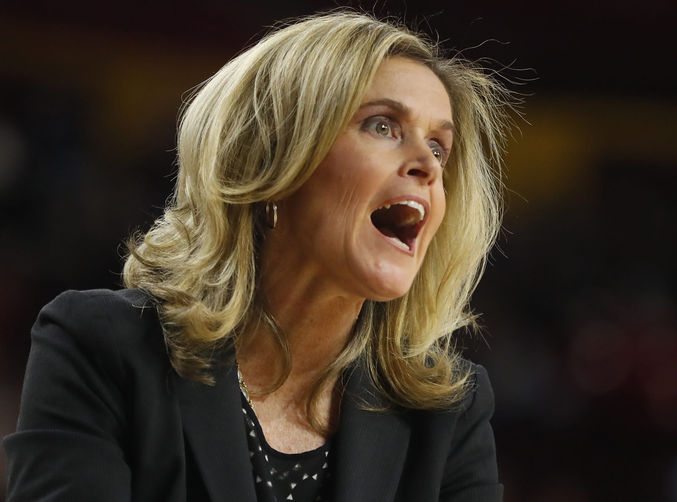 ASU's head coach Charli Turner Thorne yells to an official during the second half against Arizona at Wells Fargo Arena in Tempe, Ariz. on February 1, 2019.