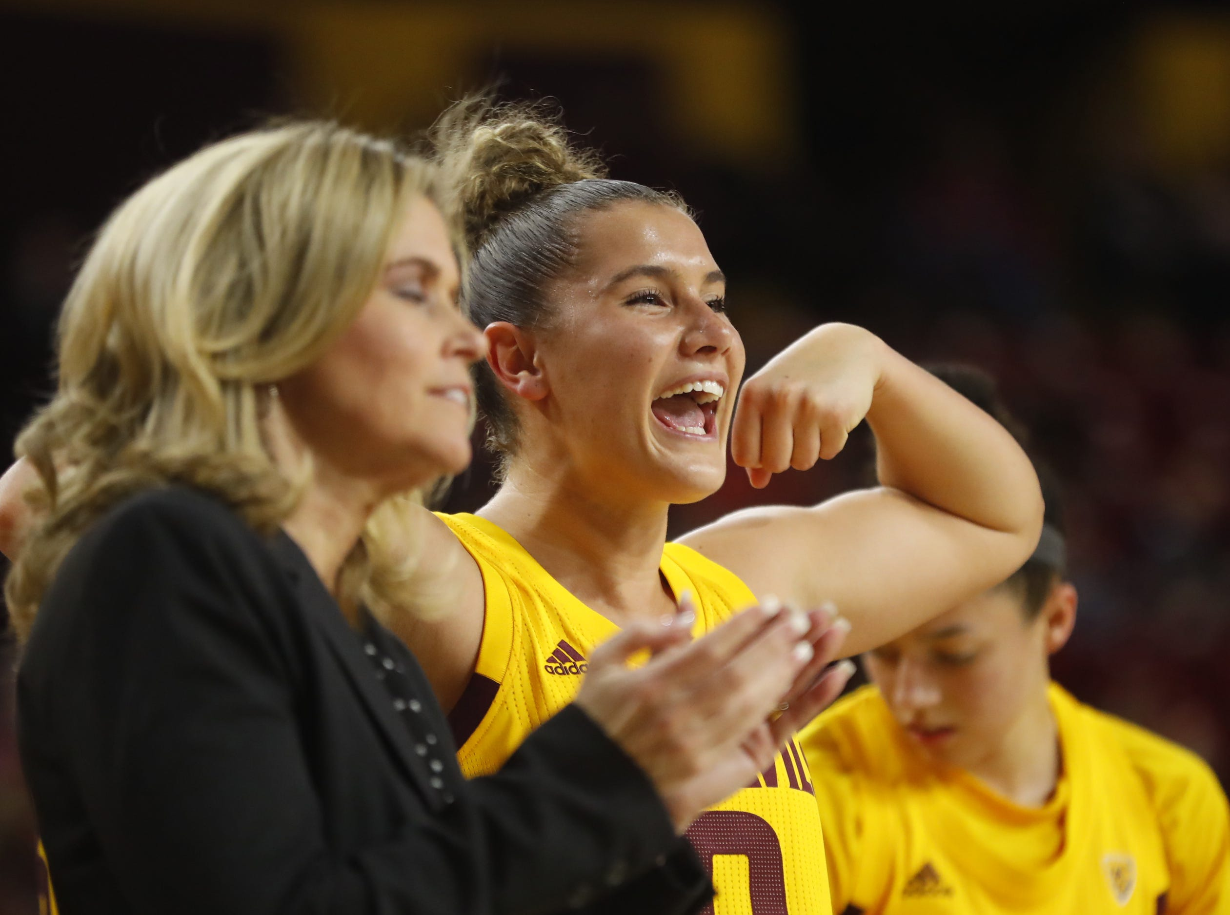 ASU's Taya Hanson (0) celebrates after a basket during the second half against Arizona at Wells Fargo Arena in Tempe, Ariz. on February 1, 2019.