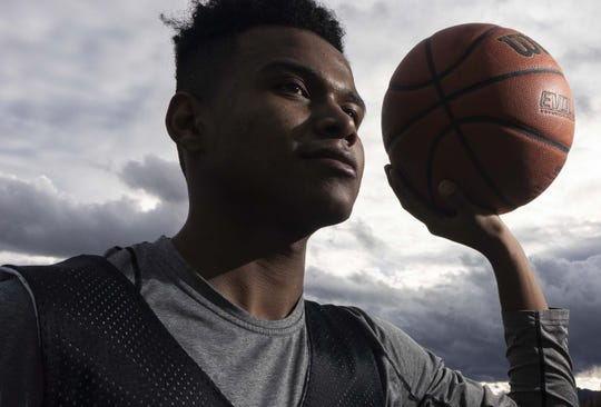 Globe senior basketball player B.J. Burries, who is on the verge of becoming the state's all-time leading scorer. Globe High School does not have a gym and has to work out at the elementary school.