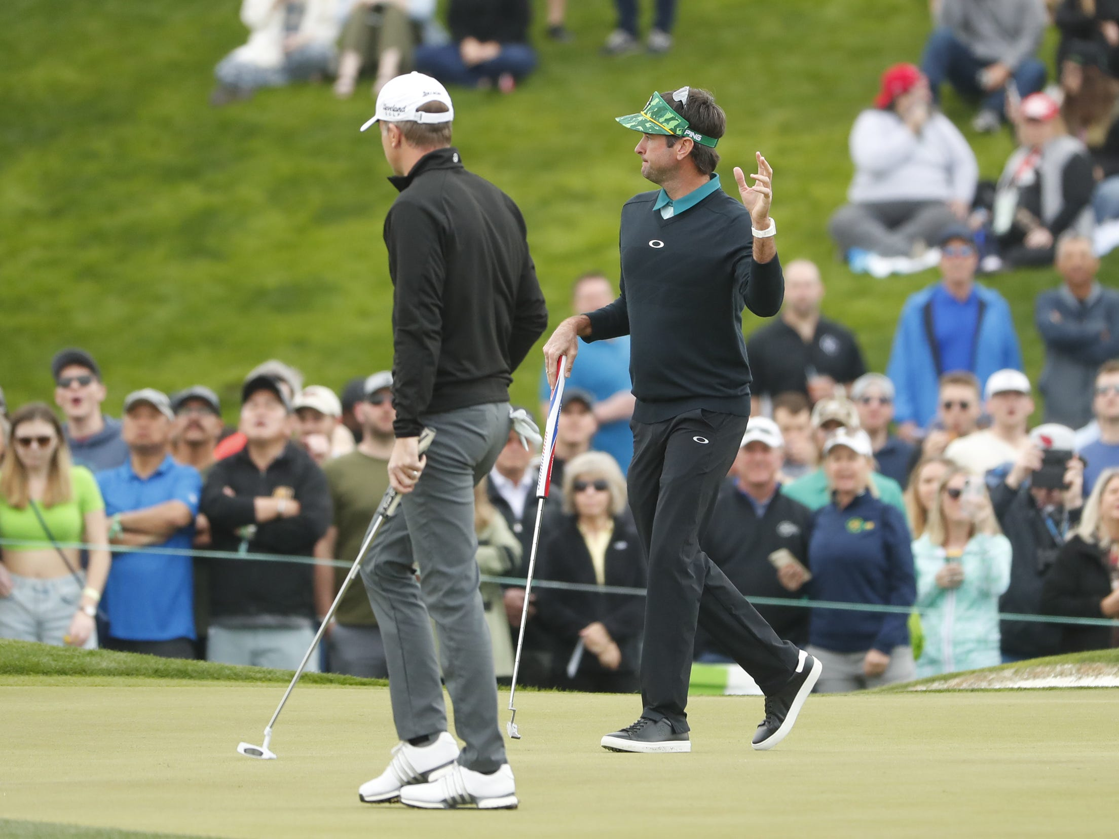 Bubba Watson waves to fans after making a birdie on the 2nd hole during the third round of the Waste Management Phoenix Open at TPC Scottsdale in Scottsdale, Ariz. on February 2, 2019.