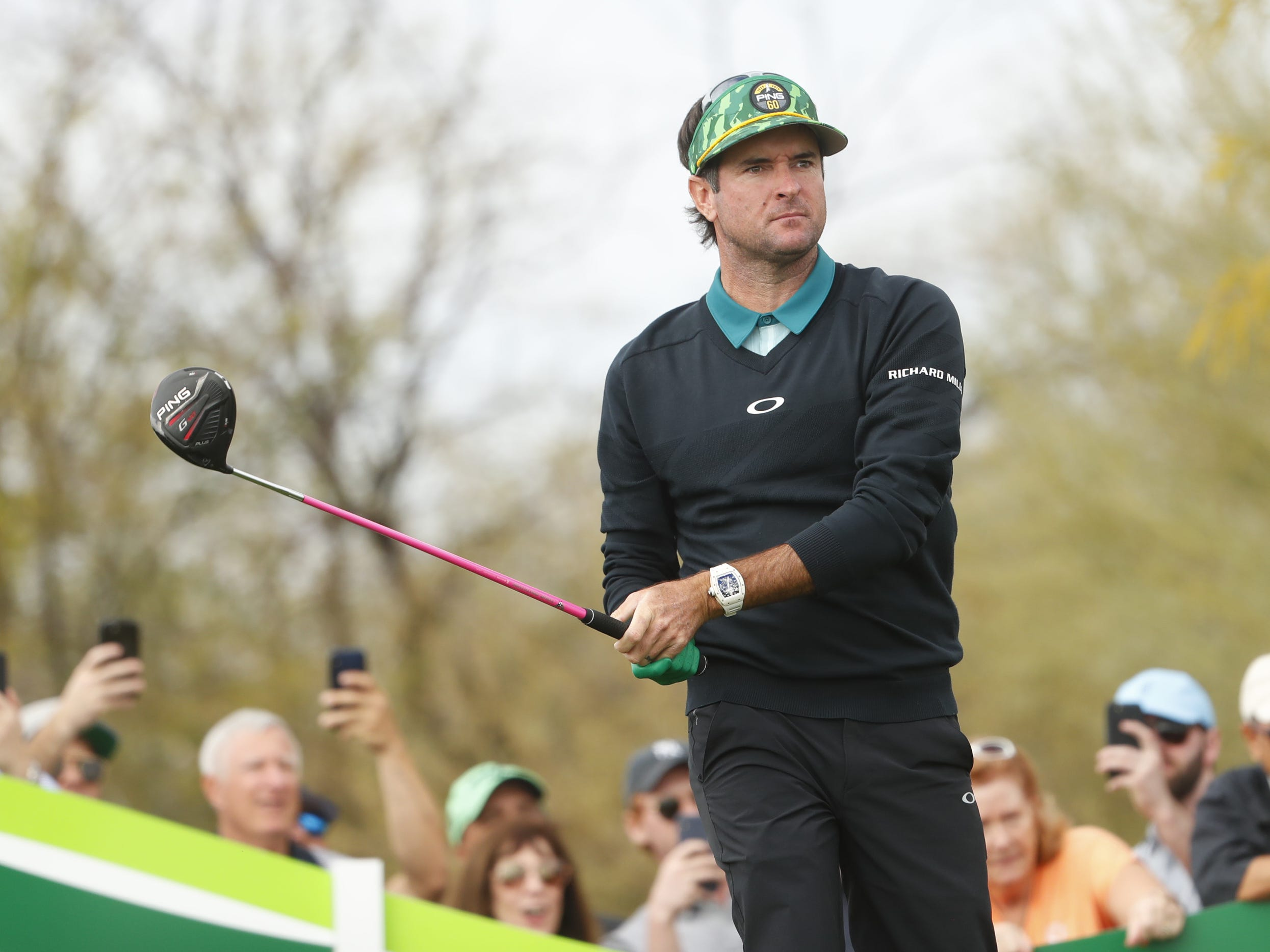 Bubba Watson tees off on the 8th hole during the third round of the Waste Management Phoenix Open at TPC Scottsdale in Scottsdale, Ariz. on February 2, 2019.