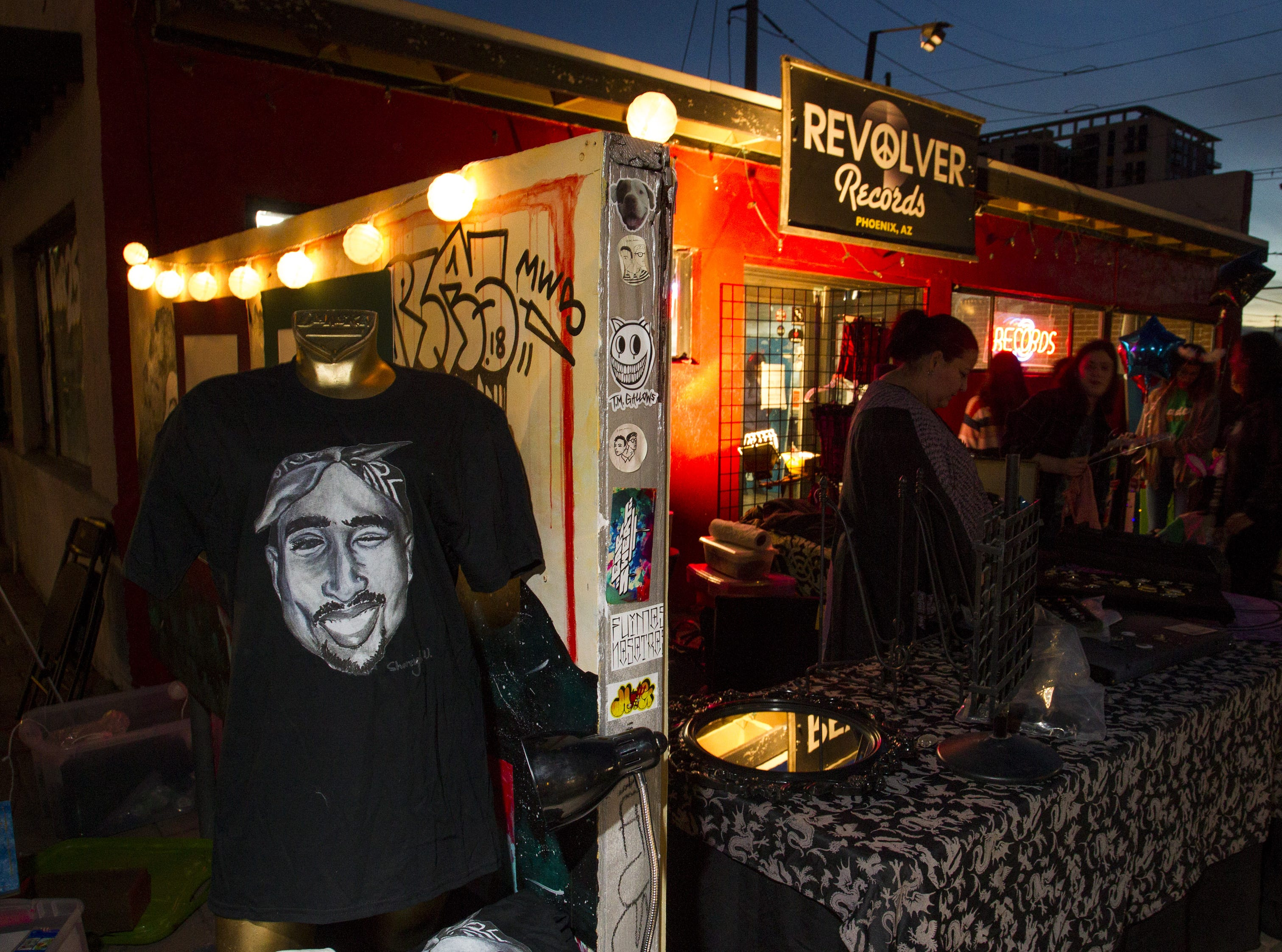 A T-shirt with Tupac Shakur appears to give a wink toward Revolver Records in downtown Phoenix.