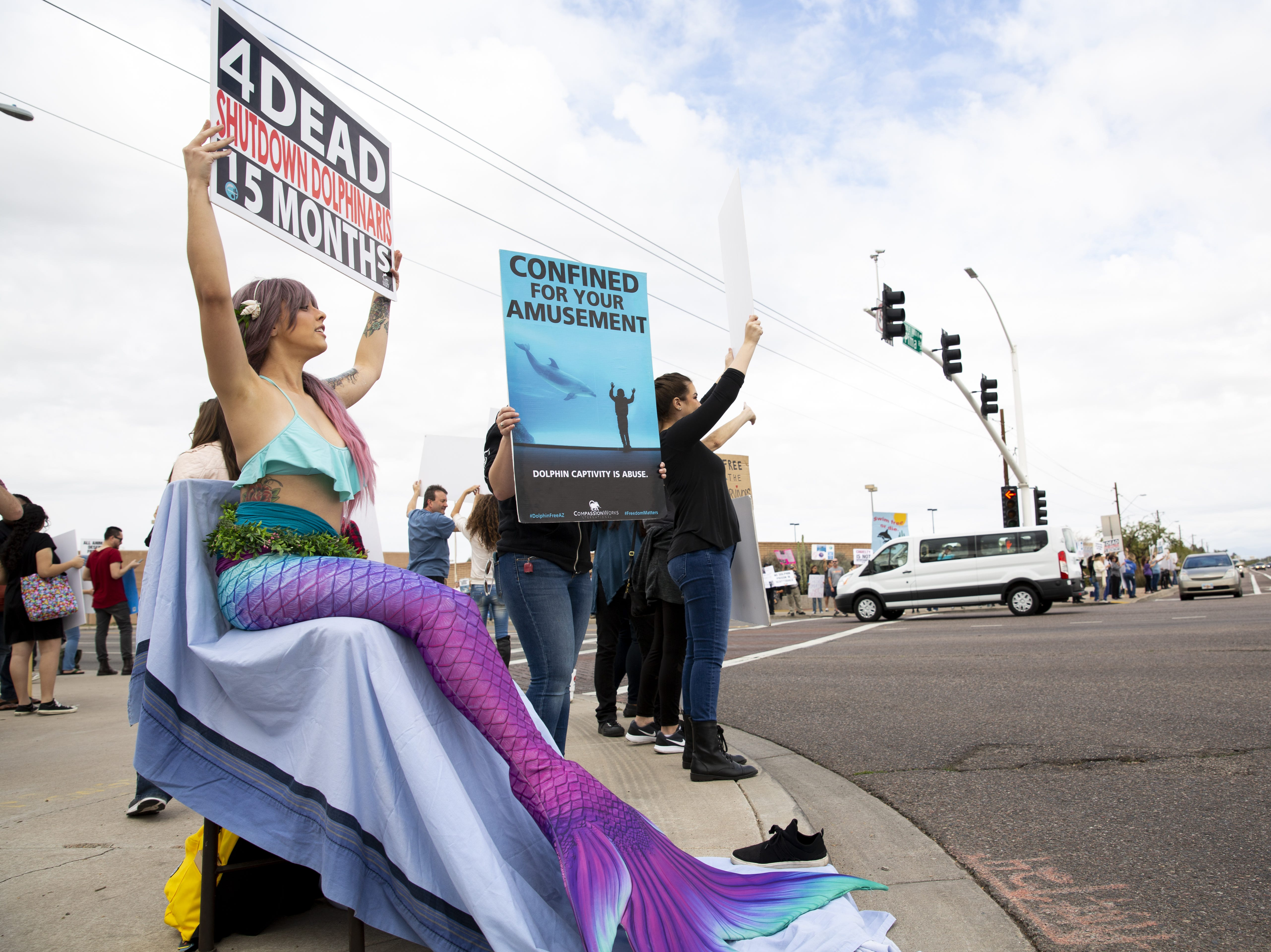 Brami Klin, (left) who goes by @MojaveTheMer on social media, holds a sign in protest of Dolphinaris at the intersection of E. Via de Ventura and N. Pima Road in Scottsdale on Feb. 2, 2019.