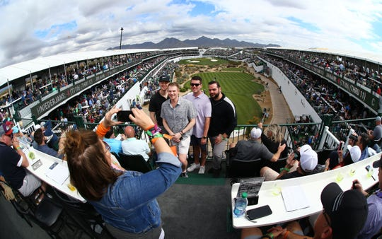 A top-level view of the infamous par-3, 16th hole at the Waste Management Phoenix Open at the TPC Scottsdale.