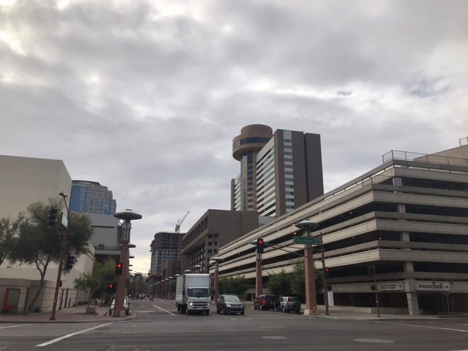 Cloudy skies above downtown Phoenix on February 2, 2019.