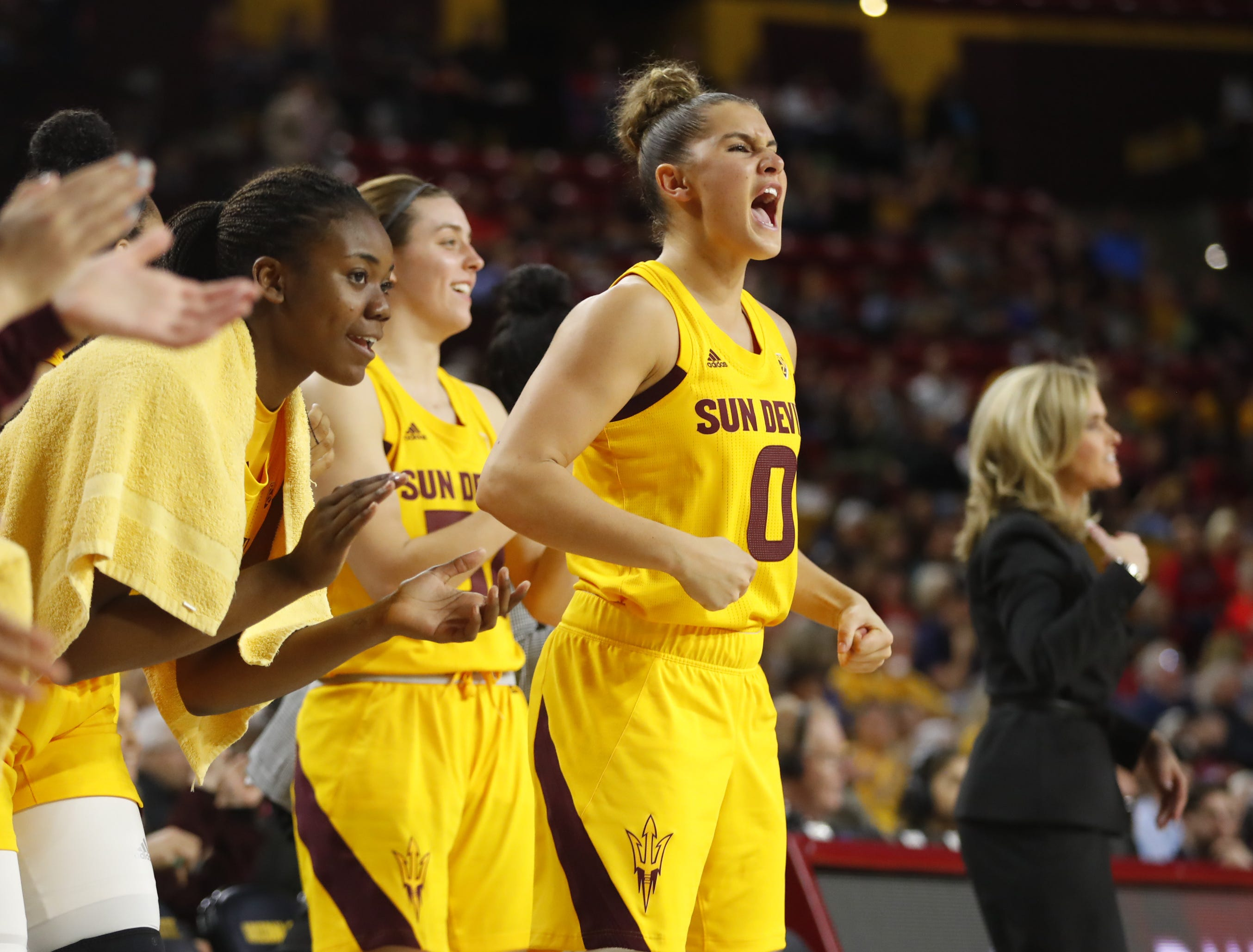 ASU's Taya Hanson (0) reacts from the bench after a basket against Arizona during the second half at Wells Fargo Arena in Tempe, Ariz. on February 1, 2019.