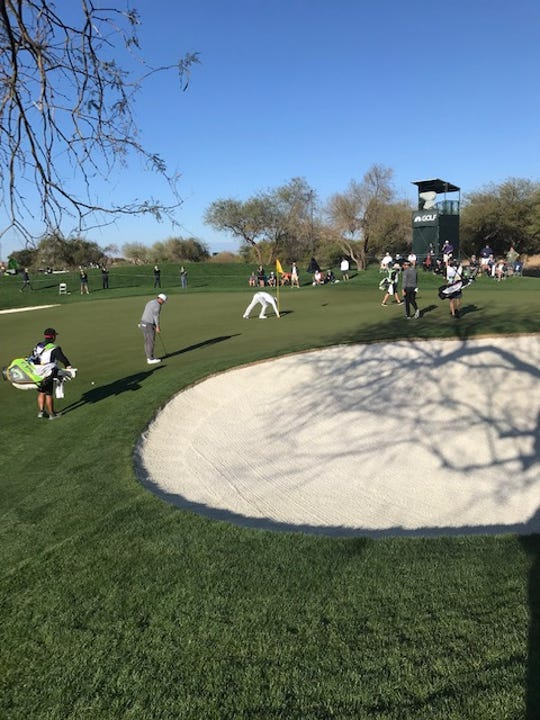 Branden Grace hits a hole-in-one at the 2019 WM Phoenix Open in Scottsdale on Friday, Feb. 1, 2019.