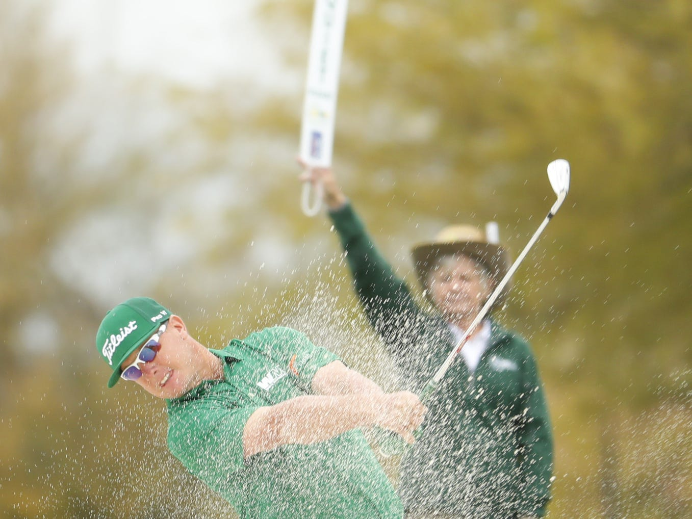 Charley Hoffman hits from the fairway bunker on the 2nd hole during the third round of the Waste Management Phoenix Open at TPC Scottsdale in Scottsdale, Ariz. on February 2, 2019.