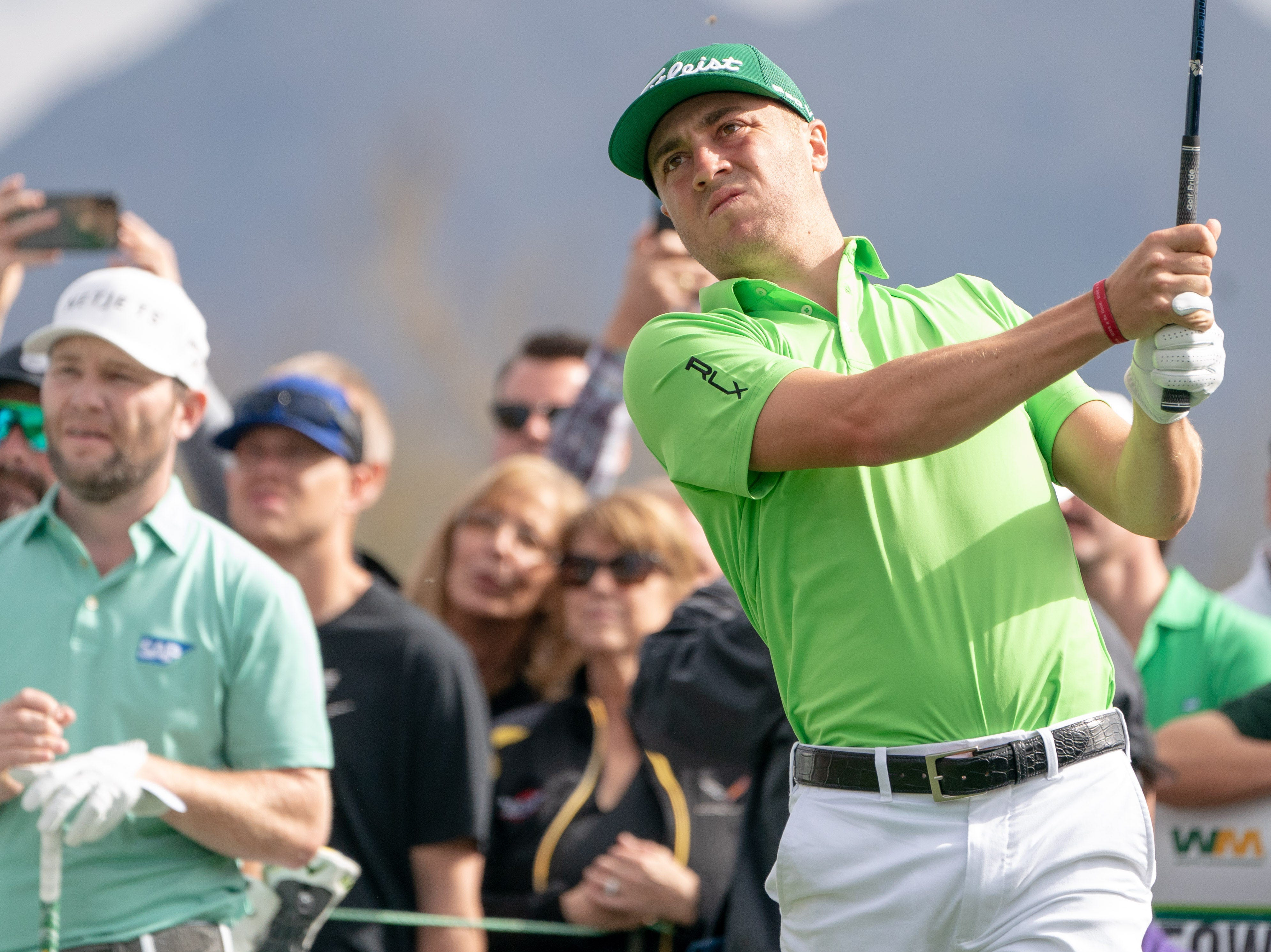 Feb 2, 2019; Scottsdale, AZ, USA; Justin Thomas with his tee shot on the 3rd during the third round of the Waste Management Phoenix Open golf tournament at TPC Scottsdale. Mandatory Credit: Allan Henry-USA TODAY Sports