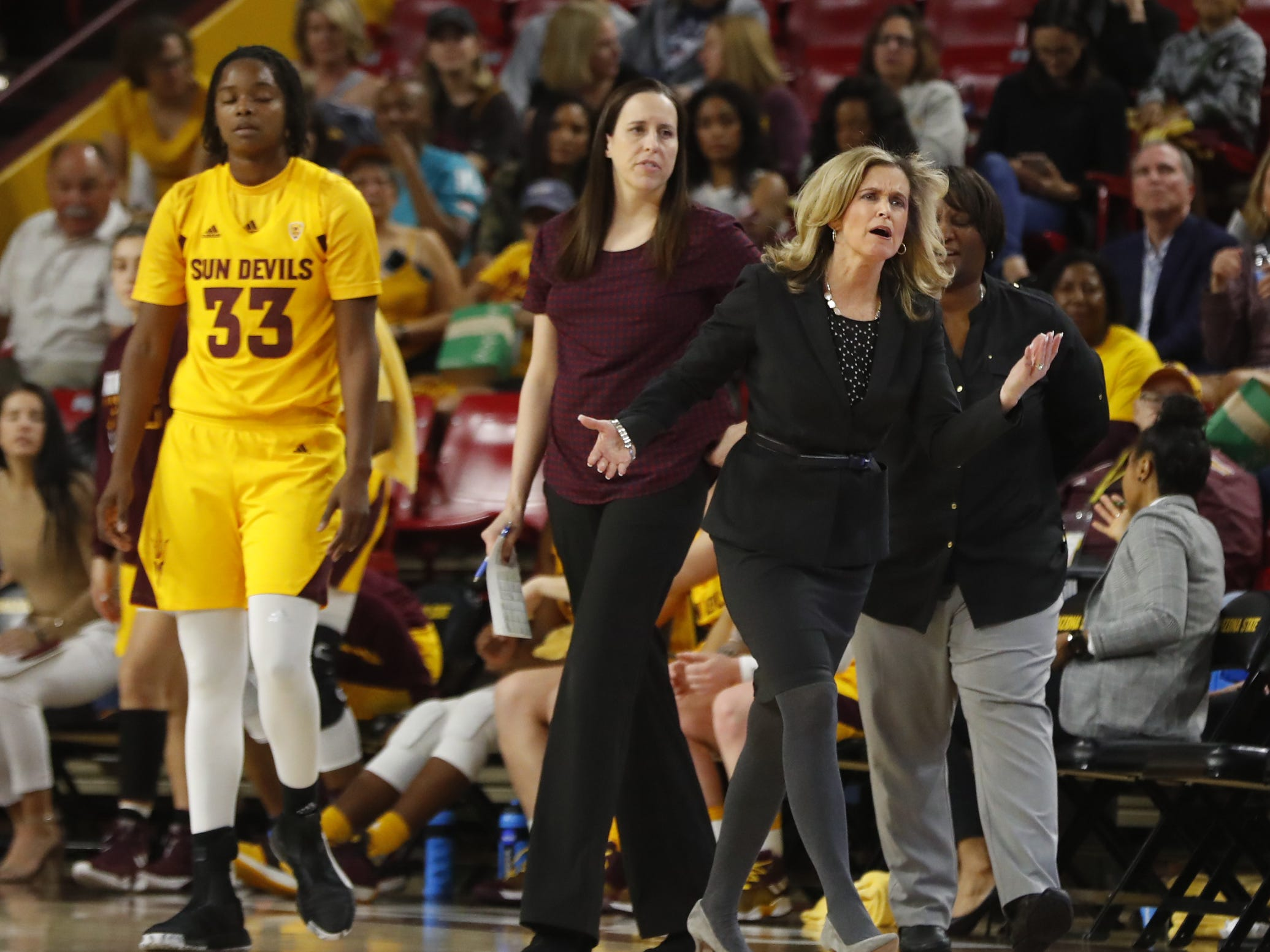 ASU's head coach Charli Turner Thorne argues with an official during the first half against Arizona at Wells Fargo Arena in Tempe, Ariz. on February 1, 2019.