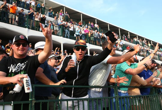 Spectators watching Rickie Fowler from the grandstand on the 16th hole during second round action on Feb. 1 during the Waste Management Phoenix Open at the TPC Scottsdale Stadium Course.