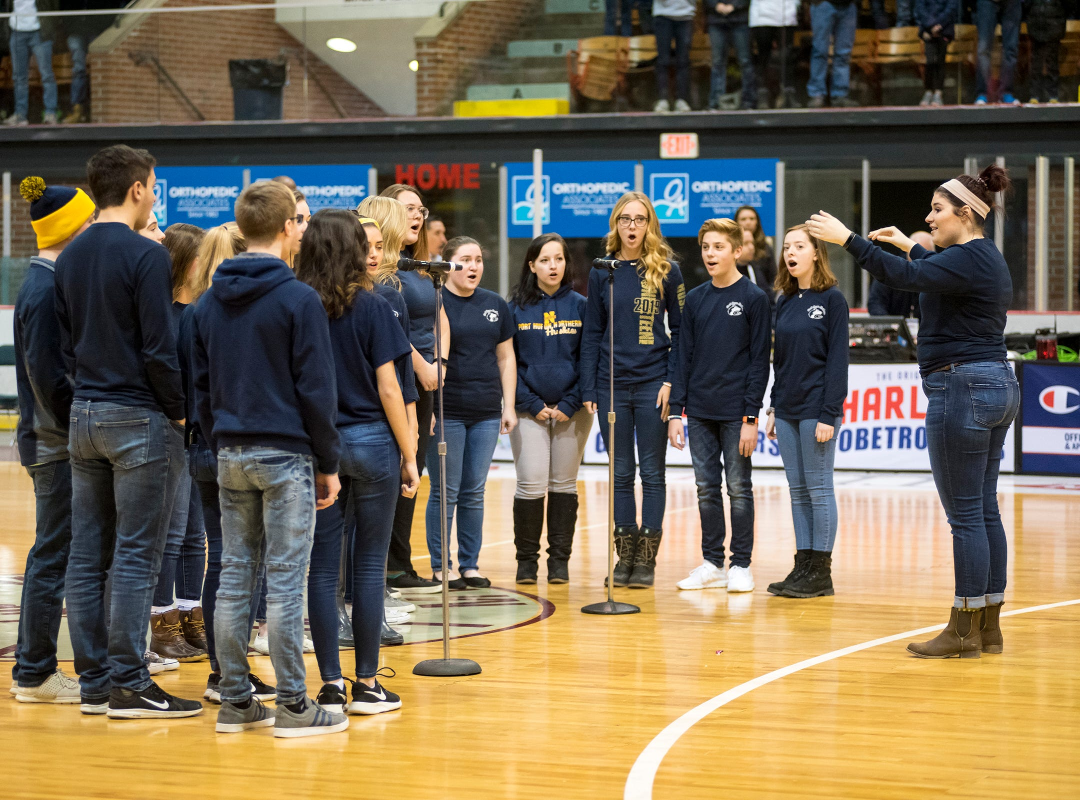 Members of the Port Huron Northern choir sing the National Anthem Saturday, Feb. 2, 2019 before the Harlem Globetrotters play against the Washington Generals at McMorran Arena.